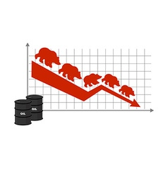 Fall of oil Oil quotations Barrel of oil Red down vector image