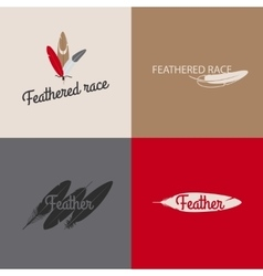 Feather logo templates vector image vector image