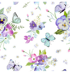 Floral seamless pattern with flowers butterflies vector