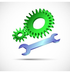 gears and wrench in color vector image