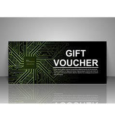 Gift voucher technology template vector image vector image