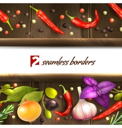 Herbs and spices border vector image vector image