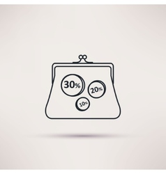 Icon purse isolated object vector image