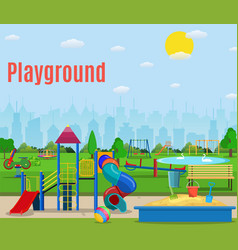 Kids playground cartoon concept background vector