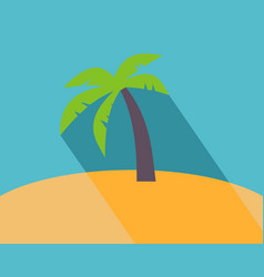 Long shadow flat icon of palm tree vector