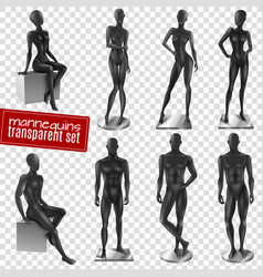 mannequins realistic transparent background set vector image