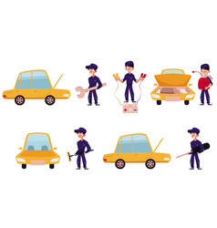 Mechanic car service repair maintenance workshop vector