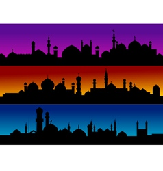 Mosque silhouette cityscapes vector