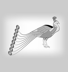 Peacock black and white stylized ornamental vector