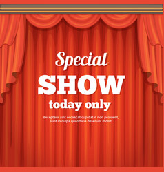 Poster with theater stage and red curtain cartoon vector