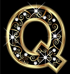 Q gold letter with swirly ornaments vector image vector image