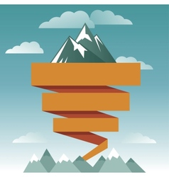 retro design template with mountain icon vector image