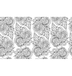Seamless doodle flower background in with vector