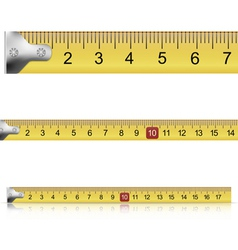 Set of measuring tapes on white background vector