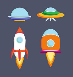 set of ufo spaceships vector image