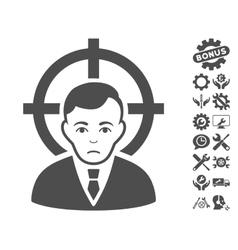 Victim businessman icon with tools bonus vector