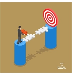 Way to the goal isometric flat concept vector image vector image