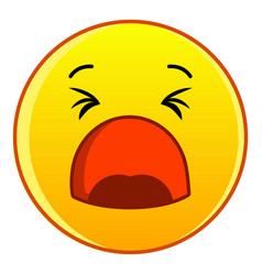 yawning yellow emoticon icon cartoon style vector image
