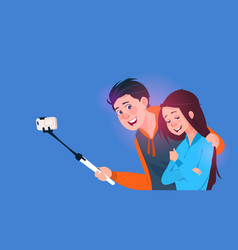 young boy and girl talking selfie photo on cell vector image