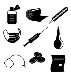 Set of medical objects black silhouette on white vector