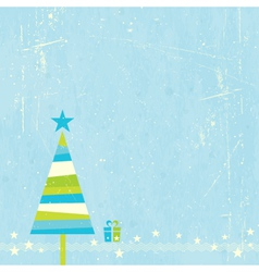Christmas tree with present vector