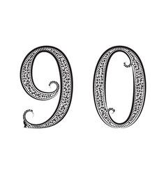 Nine zero vintage patterned numbers Font in floral vector image