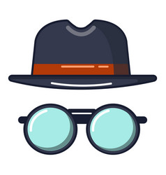 black hat and glasses icon cartoon style vector image
