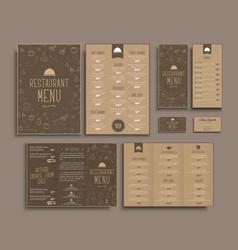 Design a4 menu retro folding brochures flyers vector