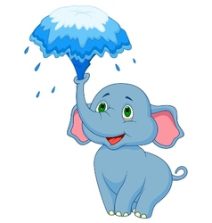 Cute elephant cartoon blowing water out of his tru vector image