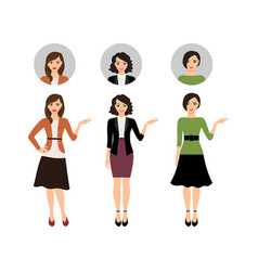 Cartoon teacher women set vector