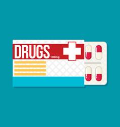 Blister pack of pills flat vector