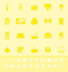 Home furniture color icons on yellow background vector