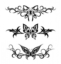 Set tribal with butterflies tattoo vector