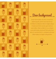 Beer mugs and hop background vector image