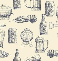 Sketch beer pattern vector image