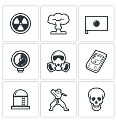 Atomic energy of japan icons vector