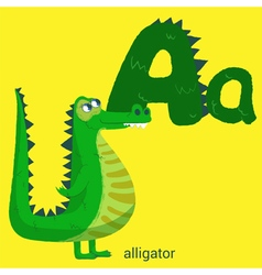 Letter a with cute alligator for children books vector