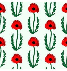 Seamless pattern with flowers bright poppies vector