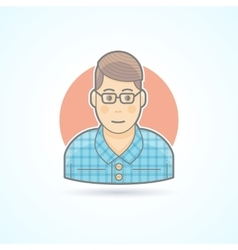 Nerd student hipster smart guy icon vector