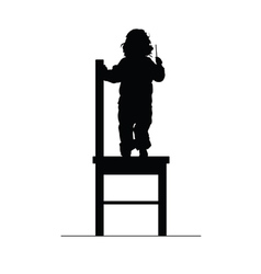 Child on chair silhouette vector