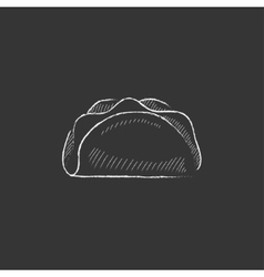 Taco drawn in chalk icon vector