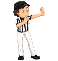 Umpire in striped uniform blowing whistle vector