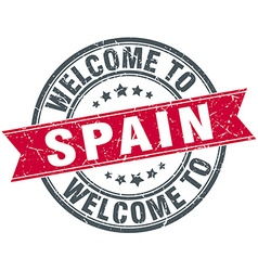 Welcome to spain red round vintage stamp vector