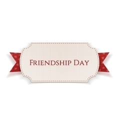 Friendship day banner on red ribbon vector