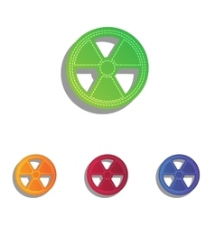 Radiation round sign colorfull applique icons set vector