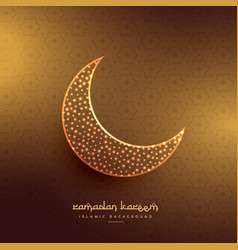 Beautiful moon design in golden background vector