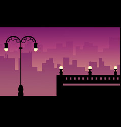 Beauty landscape city with street lamp vector