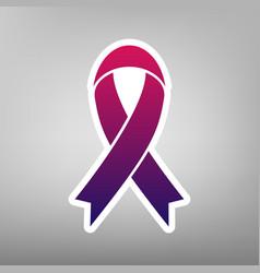 Black awareness ribbon sign purple vector