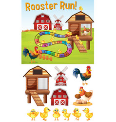 Boardgame template with chickens on farmyard vector