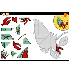 Cartoon hermit crab jigsaw game vector